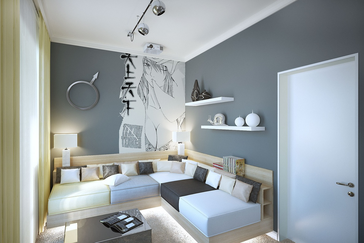 Gray white manga styleliving room   Interior Design Ideas  Like Architecture   Interior Design  Follow Us