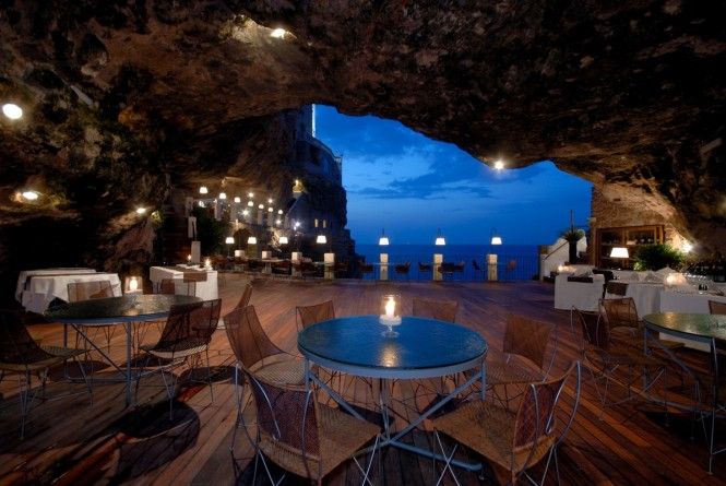 Carved right into a rock overlooking the Adriatic Sea, Hotel Ristorante Grotta Palazzese Polignano a Mare, Italy, is situated amongst a stunning backdrop of caves that have had visitors in awe for centuries.