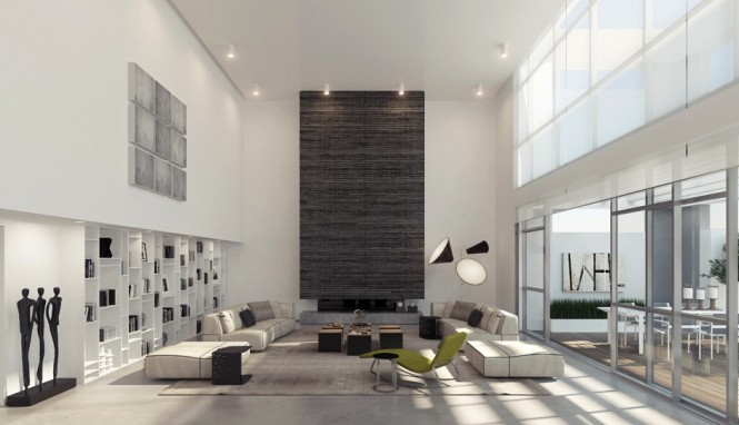 Via Ando StudioTall textured or patterned panels are a good addition to a dual level space, either to act as a sound dampener or to create a strong focal point amidst the airy layout; the panel will also draw the eye upwards to appreciate the lofty proportions.