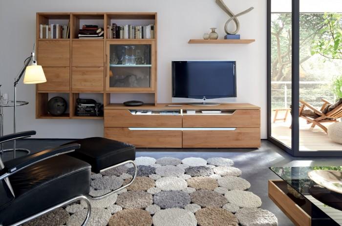 modern medium wood media center