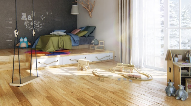Open Plan Boys Room With Blonde Wood Flooring Interior