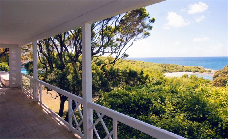 Plantation English Colonial Home White Verandah View
