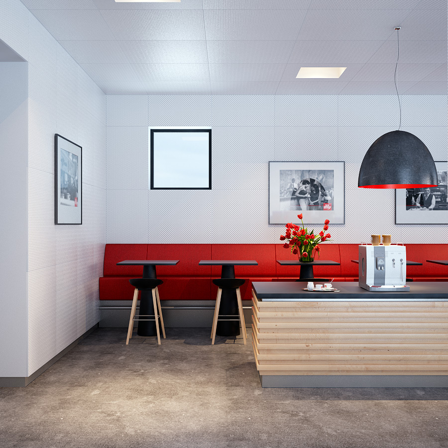 Bold Red Accented Kitchen Dining With Industrial Pendant