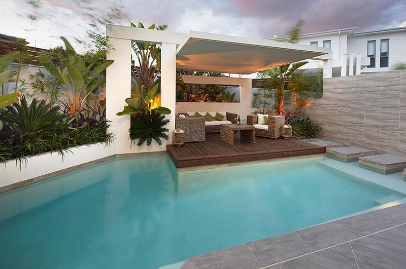 Custom Pool Area- undercover patio lounge with garden beds ... on Backyard Lounge Area Ideas id=68882