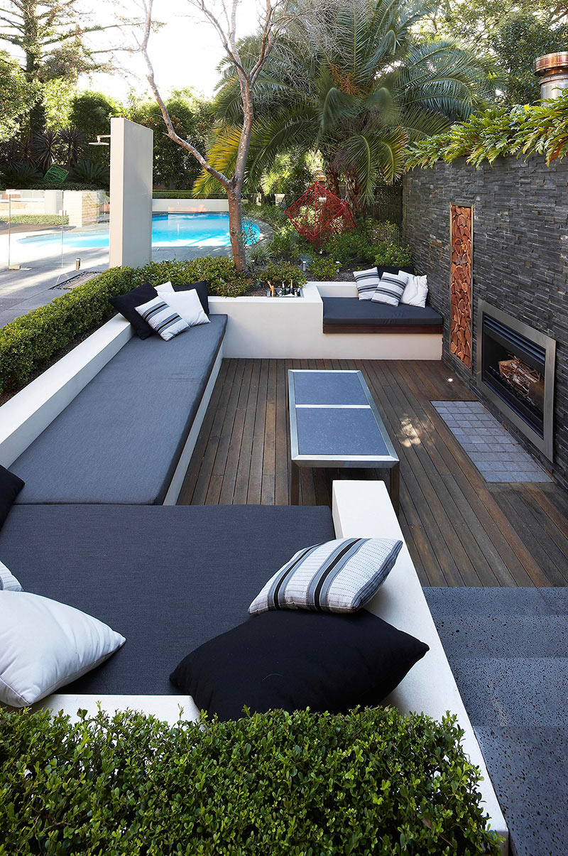 Outdoor Living with Sunken Lounge- hedged monochrome soft ... on Backyard Lounge Area Ideas id=69753