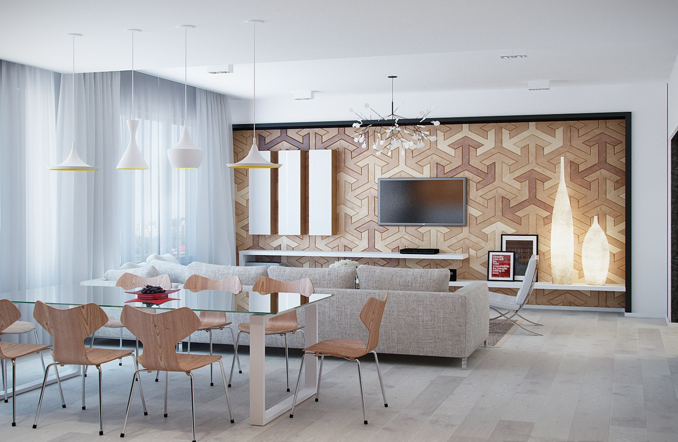 Interesting Light Wood Accents and Furnishings Add ... on Creative Wall  id=95741