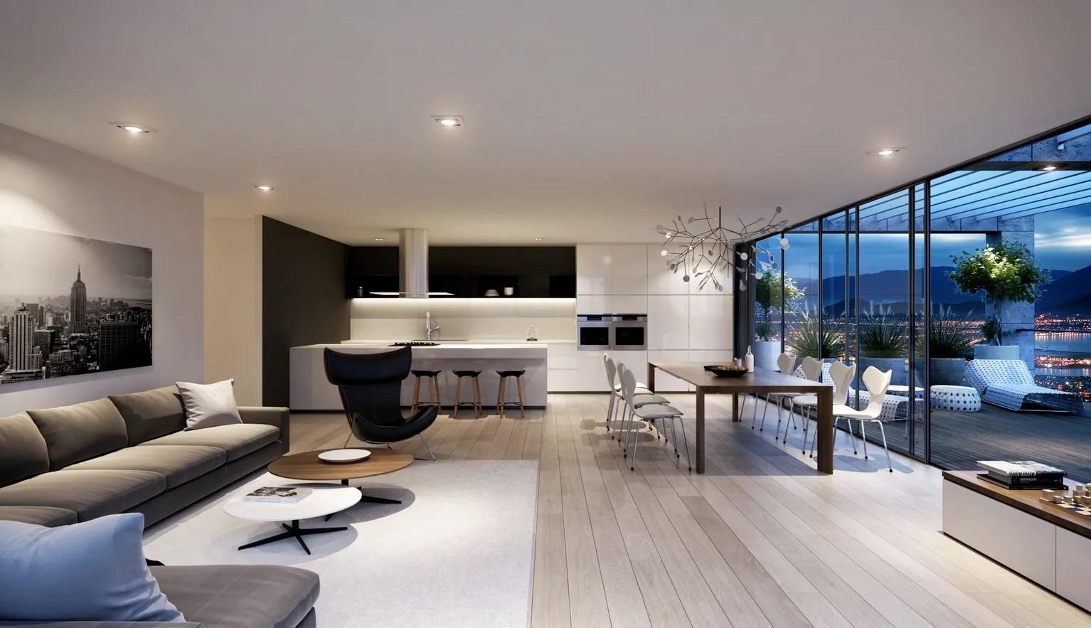 spacious modern living room interiors