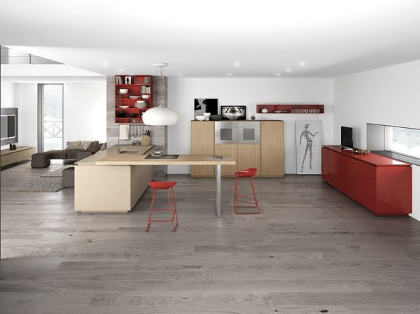 red cabinetry