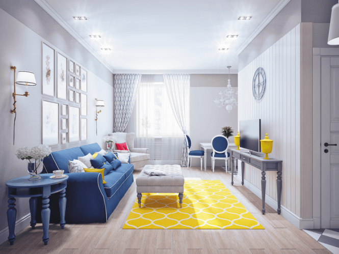 Fascinating Blue And Yellow Living Room
