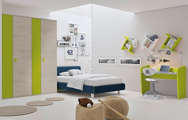 Green white blue childrens room