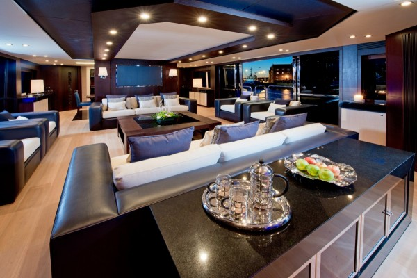 The main saloon of this yacht has been meticulously designed to be a stunning entertaining space.