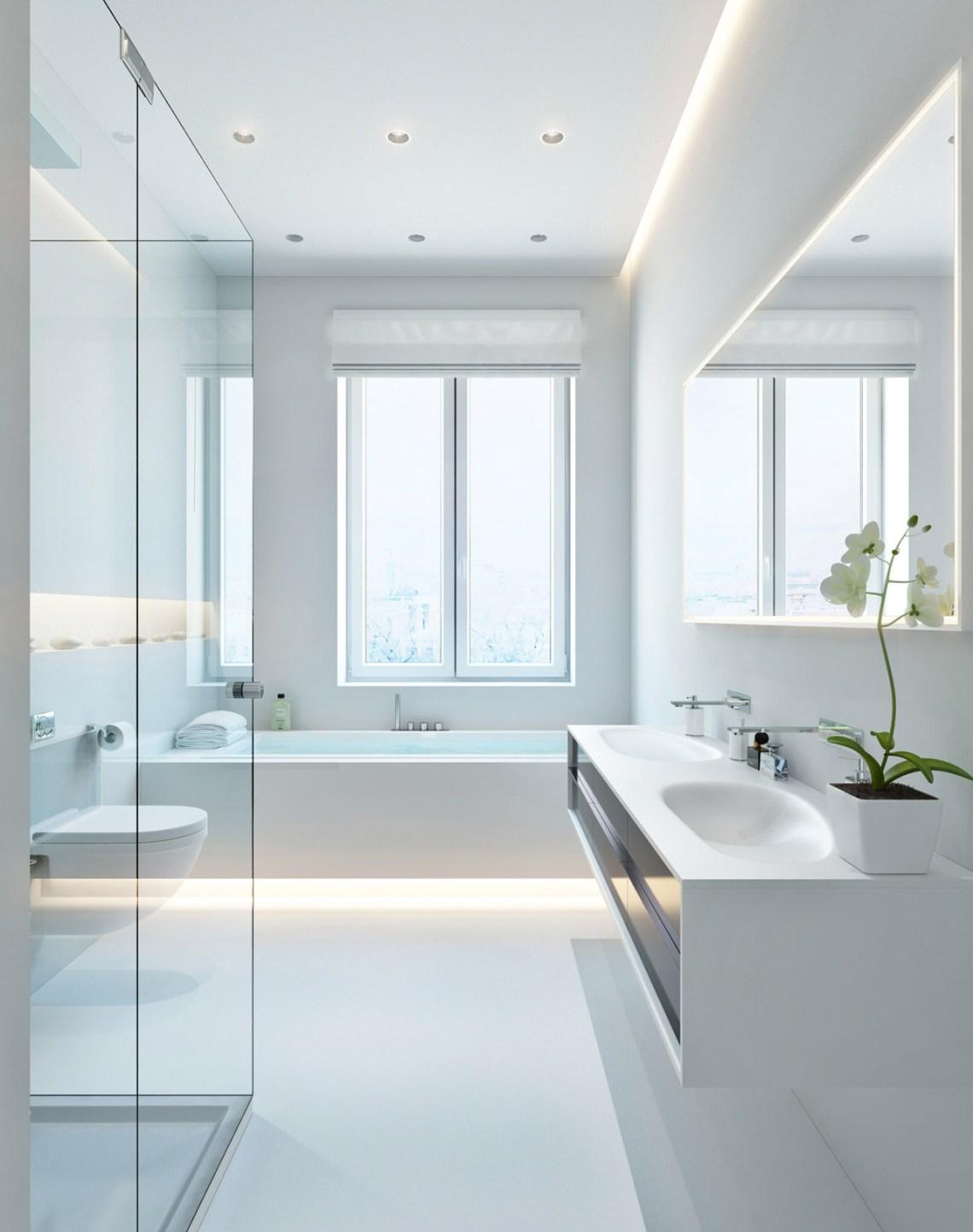 | Modern white bathroomInterior Design Ideas.