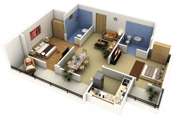 This two bedroom keeps things simple with a small but functional kitchen, two outdoors paces, and en-suite bathrooms. The blue tile in each adds a dash of color to an otherwise neutral palette.