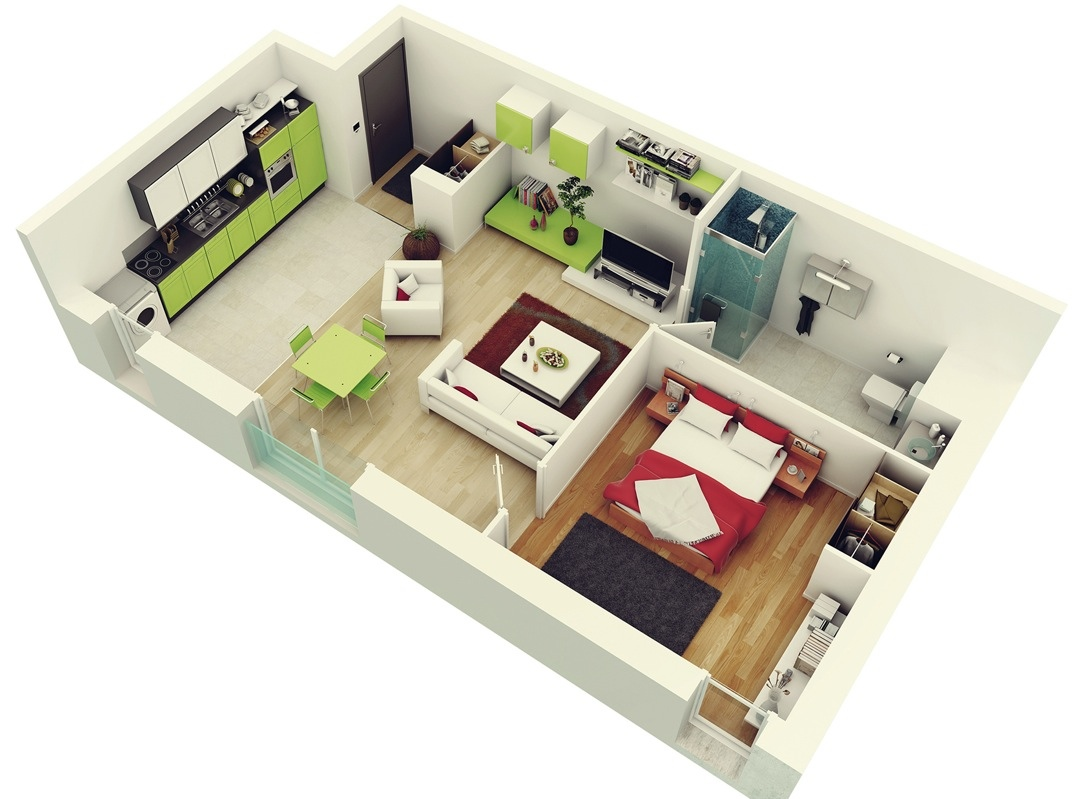 1 Bedroom Apartment House Plans Like Architecture   Interior Design  Follow Us