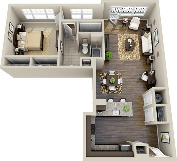 This L-shaped apartment offers a spacious kitchen and breakfast bar, lots of windows, large closets in the bed and bath, plus a small patio. And oh, those hardwoods!