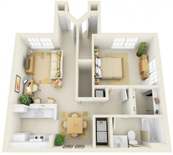 This one bedroom suite may look compact, but it offers enough space for a work area, walk-in closet, coat closet, laundry area, and comfortable living and dining areas.