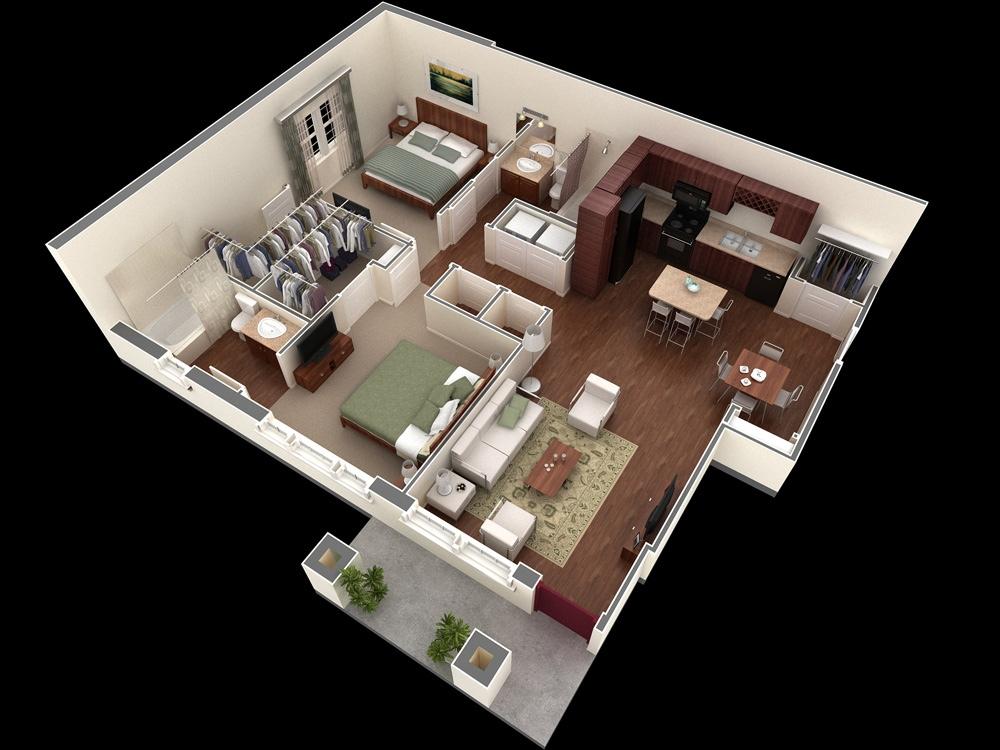 Small 2 Bedroom Apartment Layout Novocom Top