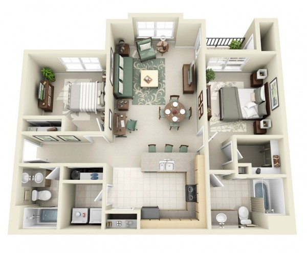 The sophisticate will love the look and feel of this contemporary two bedroom which features a large master with ensuite bathroom and walk-in closet, a second bedroom and easily accessible second bath, a large living area, and a charming balcony.