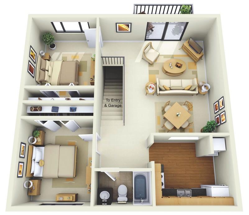 Interior Small 2 Bedroom Apartment Design Novocom Top