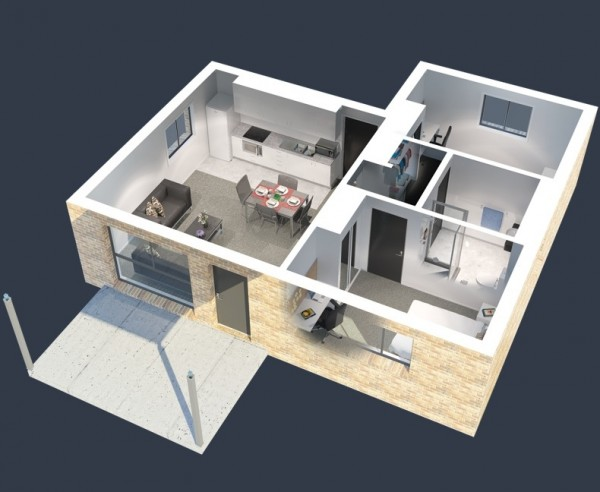 As a twist on traditional university housing, this two bedroom offers shared common areas, modern furnishings, and just enough storage space for you and your roommate.