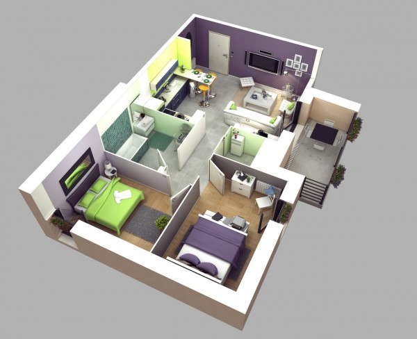 Soothing greens and purples in this design give this space a calm vibe, but it's the efficient use of space that makes it a great fit for young couples in need of a guest room.