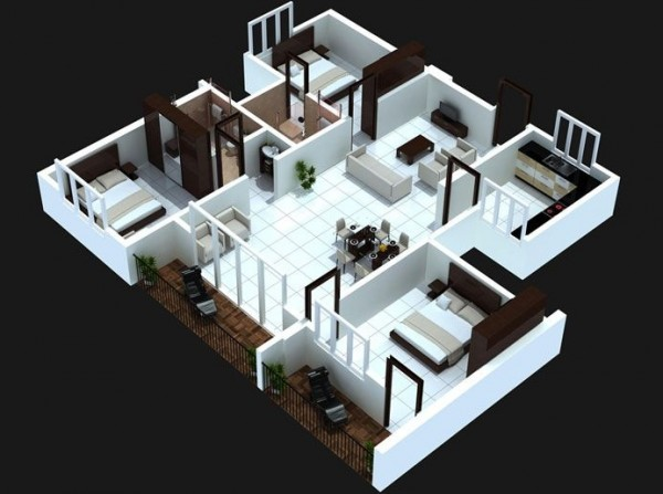 3 bedoom with balcony house plans