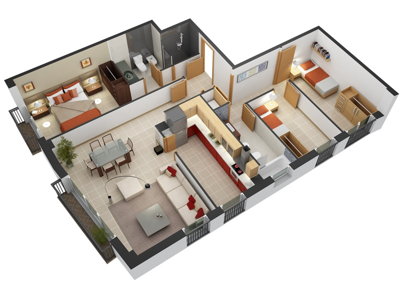 3 Br Apartment Floor Plans