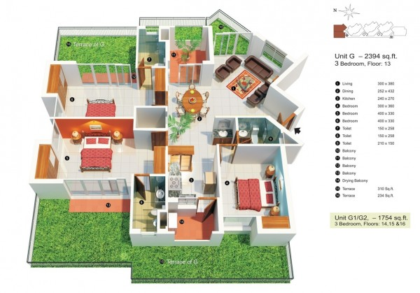 3 bedroom under 2500 square feet