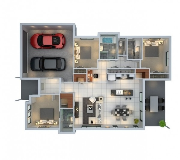 3 bedroom with parking space floor plan