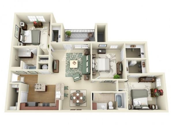 3d floor ploan 3 bedroom