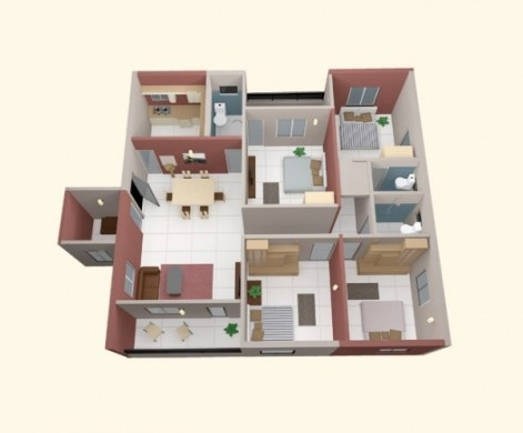 4 Bedroom Apartment House Plans 40