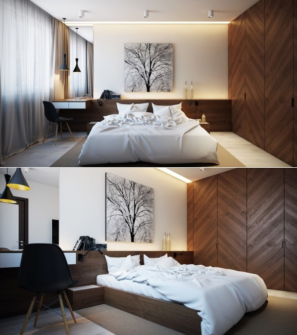 The use of wood in this bedroom makes it feel very cozy, from the awesome wood closet to the on-theme tree art behind the bed.