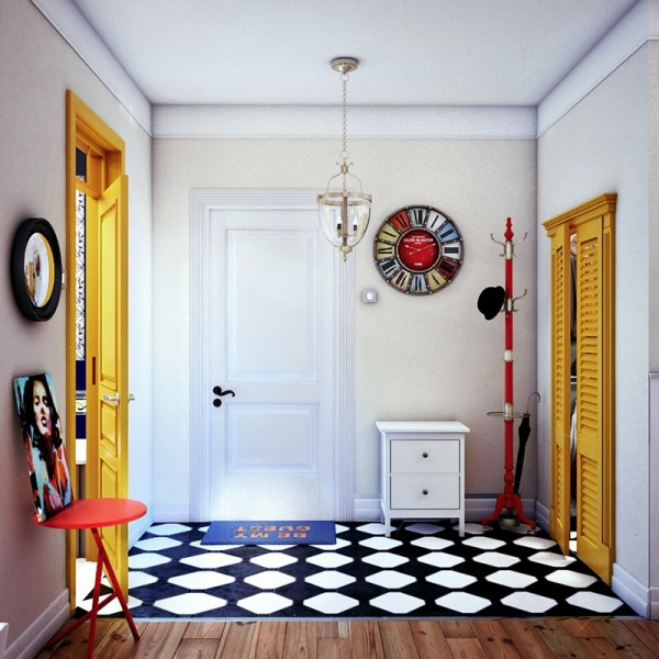 More splashes of yellow in the entryway add a vibrancy to the main living area.