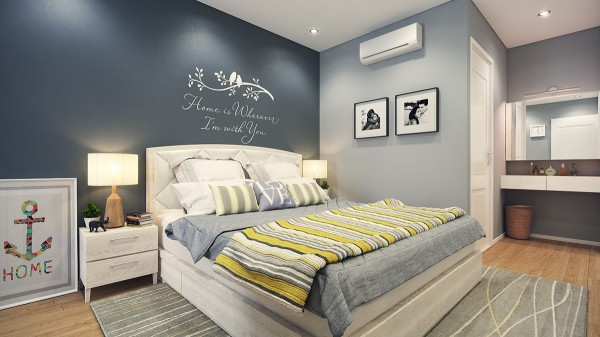 In the bedroom, too, the feminine leaning in this design is evident.