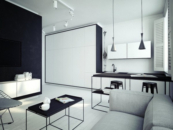 White on black on gray is ultimately calming, even in this small space.