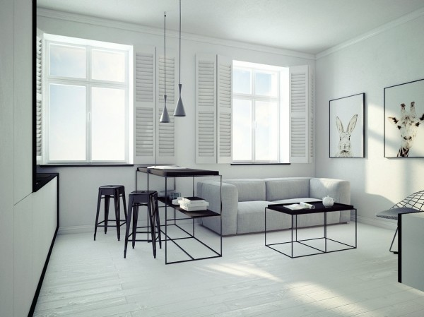 The third apartment is strikingly minimal compared to the other two.