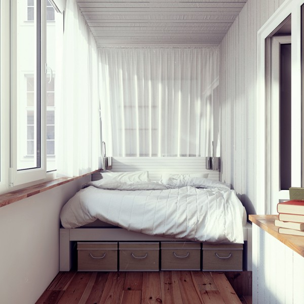 In contrast, the bedroom makes use of the clean and calming effects of white on white.