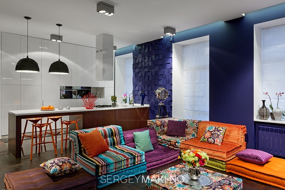 3 Whimsical Apartment Interiors from Sergey Makhno on Colourful Living Room  id=25425