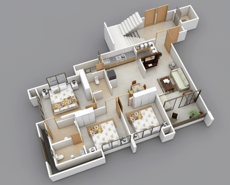 25 Three Bedroom House Apartment Floor Plans 3