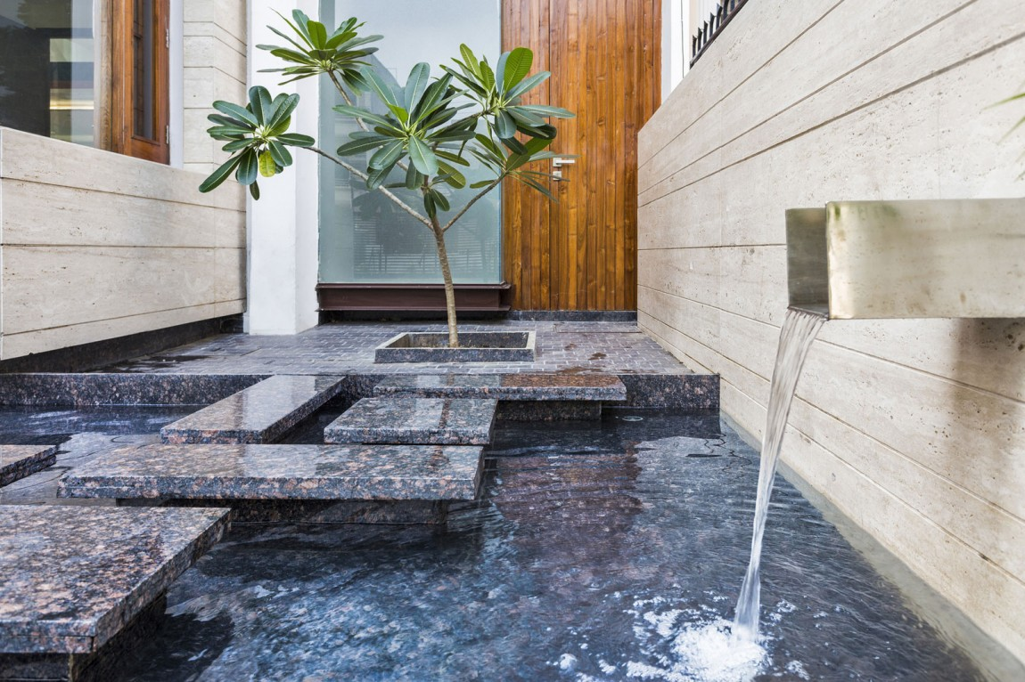 A Sleek, Modern Home with Indian Sensibilities and an ... on Home Garden Fountain Design id=91173
