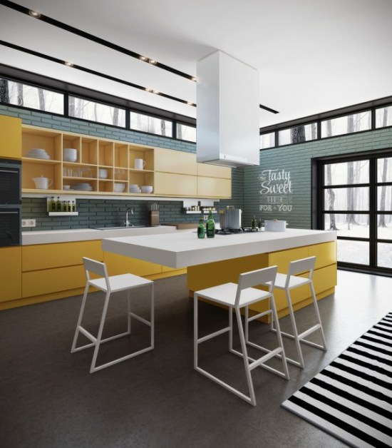 With a warm and welcoming palette, this kitchen beckons to every guest who enters the home. A countertop extends to become a kitchen table/breakfast bar but could easily be a spot for a nightcap, too.