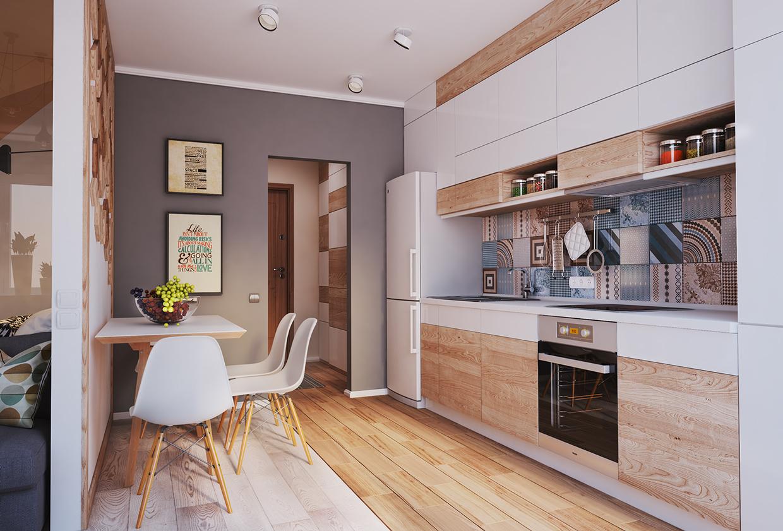 Negli appartamenti moderni è molto frequente scegliere di avere un soggiorno con angolo cottura, anziché una cucina separata dalla living room oppure una. Living Small With Style 2 Beautiful Small Apartment Plans Under 500 Square Feet 50 Square Meters