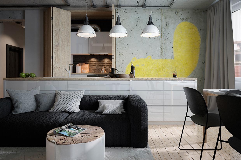 Sopra la cucina, il disimpegno e il bagno si trova un solaio con la zona notte, alla quale si accede tramite scala posizionata nel soggiorno. Two Homes For Stylish Young Families