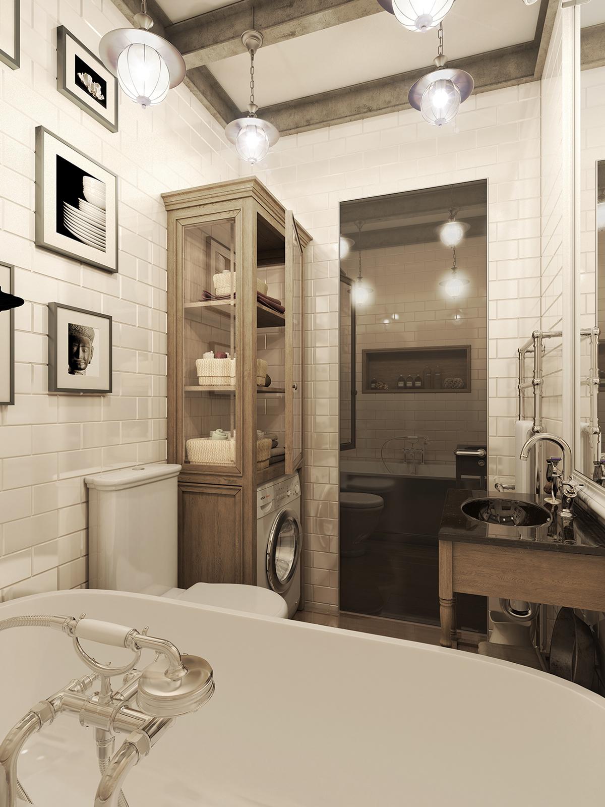 Three Dark Colored Loft Apartments with Exposed Brick Walls on Apartment Bathroom  id=79949