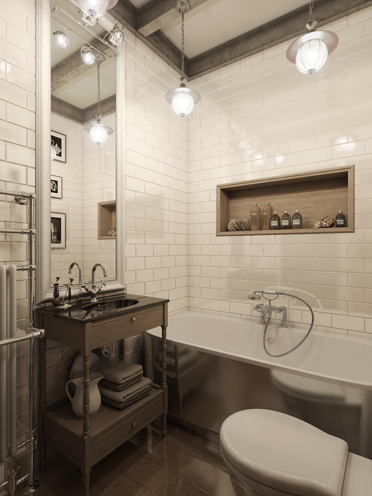 Three Dark Colored Loft Apartments with Exposed Brick Walls on Apartment Bathroom  id=40948