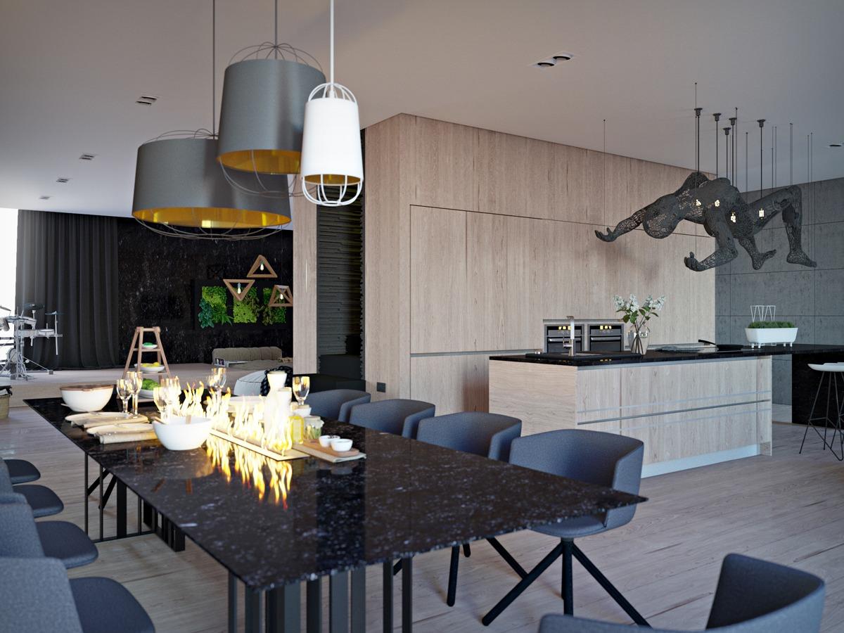 Black Marble Dining Table Interior Design Ideas
