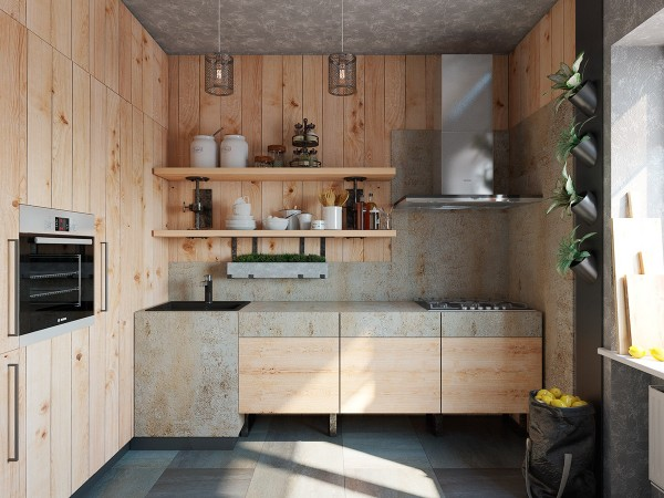 Natural wood all around gives this kitchen a bit of a rustic bent.