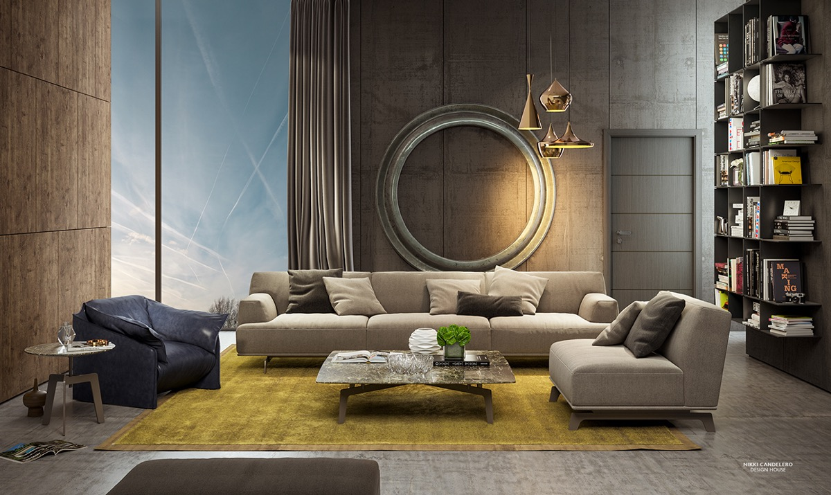 Wood panels and unfinished concrete make a lovely pairing. The brass and steel circle adds a touch of Art Deco elegance and bold industrial influence.