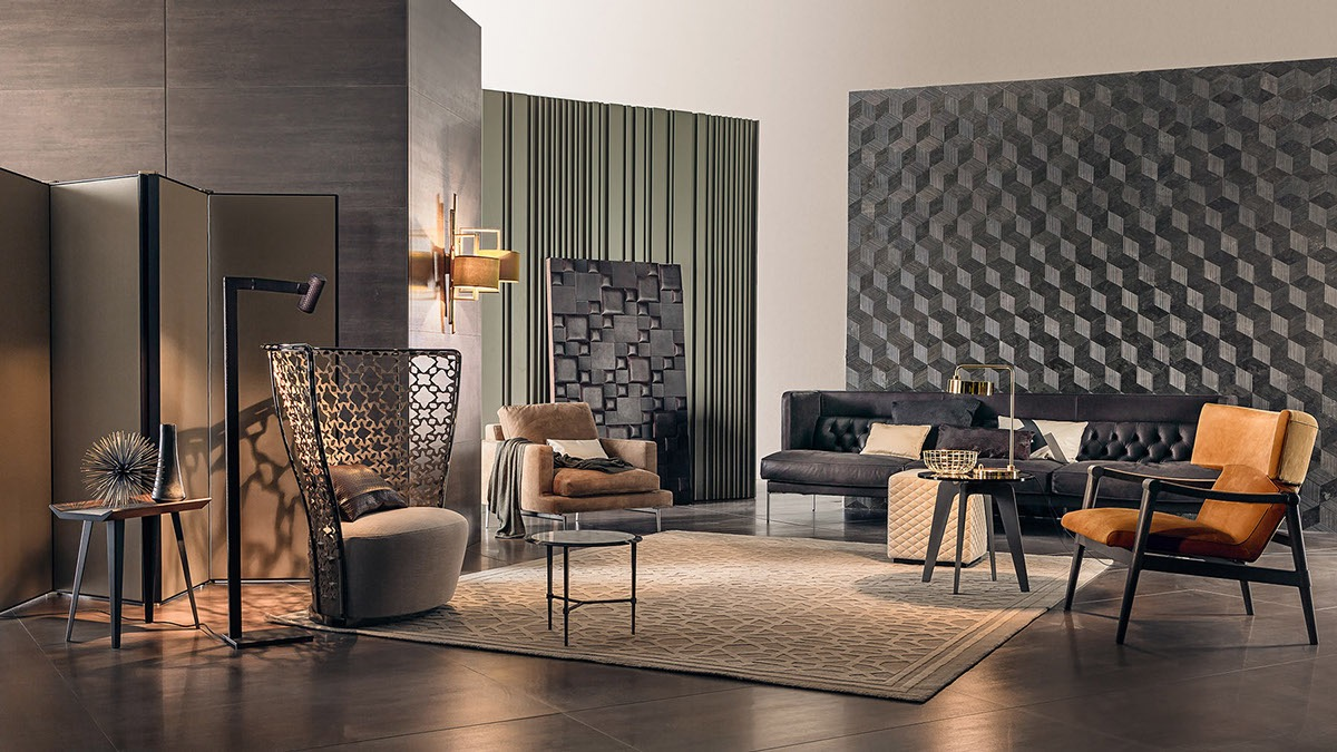 Smooth vertical lines, poppy pinstripes, and cool cubic wall panels - three unique styles together in one eclectic space.