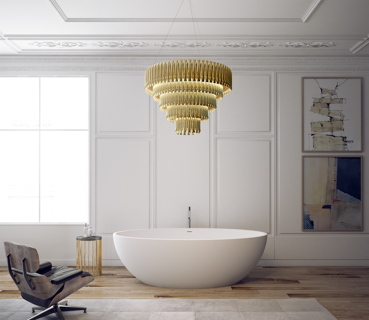 An ovoid tub is the crown jewel of any minimalistic bathroom. This design features a subtle faucet and overflow so the comforting shape can take center stage.